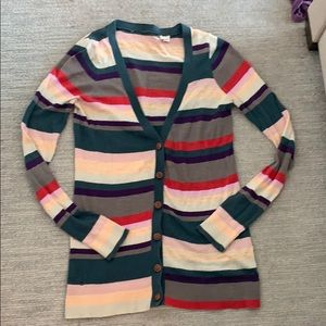 Anthropologie Button Front Striped Cardigan